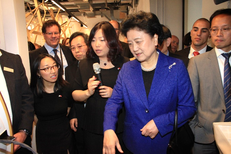 China's Vice Premier, Liu Yandong (right) at the opening of TechCode Tel Aviv, with Holo Zheng (left)